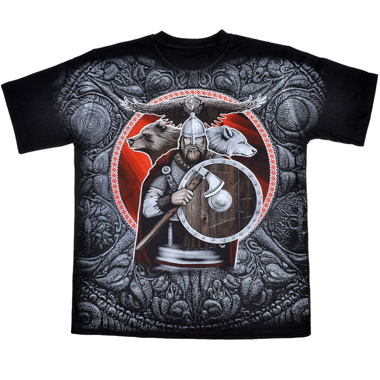 T-shirt Combat Russian Warrior with axe and shield